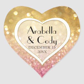 Bokeh Movie Premier Ticket Style Gold Pink Sparkle Heart Sticker