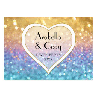 Bokeh Movie Premier Ticket Style Gold Pink Sparkle Large Business Card