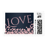 Bokeh Pink and Navy Blue Love Postage
