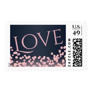 Bokeh Pink and Navy Blue Love Postage Stamp