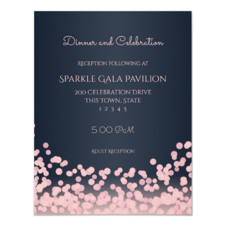 Bokeh Pink and Navy Blue Reception Card