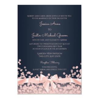 Bokeh Pink and Navy Blue Wedding Card
