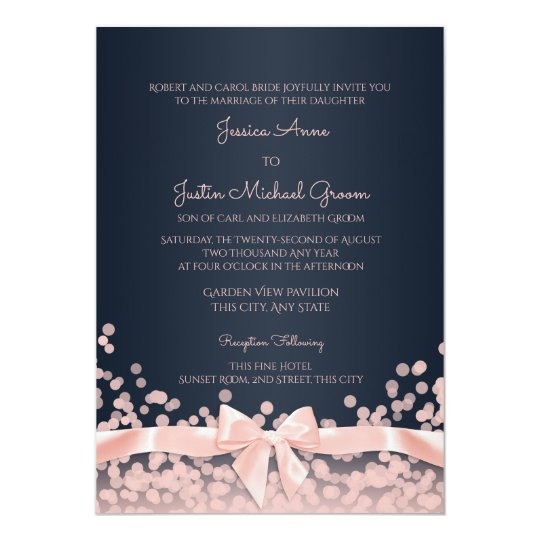 Bokeh Pink And Navy Blue Wedding Card