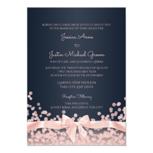 Bokeh Pink And Navy Blue Wedding Invitation