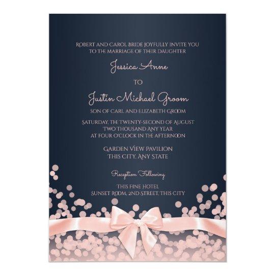 Bokeh Pink and Navy Blue Wedding Invitation | Zazzle.com