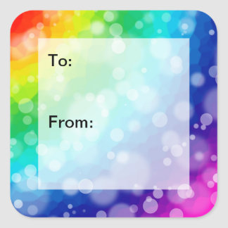 Bokeh Rainbow Pattern Gift Tag Stickers