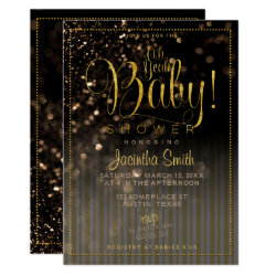 Bokeh Stripes Glam Baby Shower | Oh Yeah Baby! Invitation