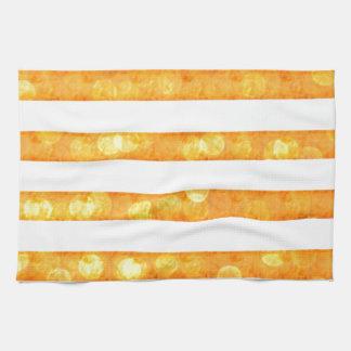 Bokeh Stripes Orange And White Kitchen Towel