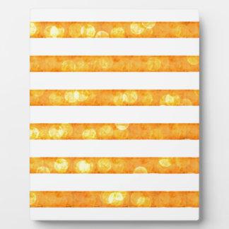 Bokeh Stripes Orange And White Plaque