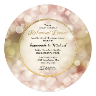 "Bokeh Twinkle Sparkle Gold Rehearsal Dinner Invite 5.25"" Square Invitation Card"
