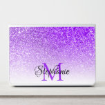 "Bokeh Violet Glitter Photo White Ombre Monogram HP Laptop Skin<br><div class=""desc"">Create your own personalized monogram laptop skin with an elegant black handwritten cursive font text design and violet classic style single letter monogram. The bright purple violet faux glitter is created from a photo. If you transfer the design to another gift, you may need to try the fit or fill...</div>"