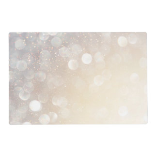 Bokeh White Silver Gold Sparkle Placemat