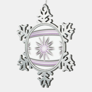 Bola #7 del navidad adorno de peltre en forma de copo de nieve