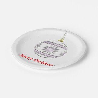 Bola #7 del navidad platos de papel