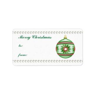 Bola #8 del navidad etiquetas de dirección