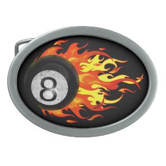 Bola 8 el flamear hebilla de cinturon oval