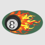 Bola 8 el flamear pegatina oval personalizadas