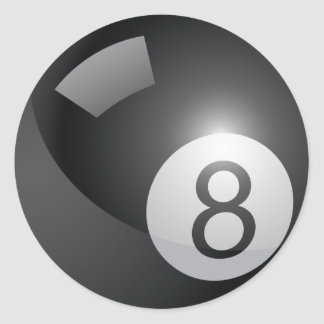Bola 8 etiqueta redonda