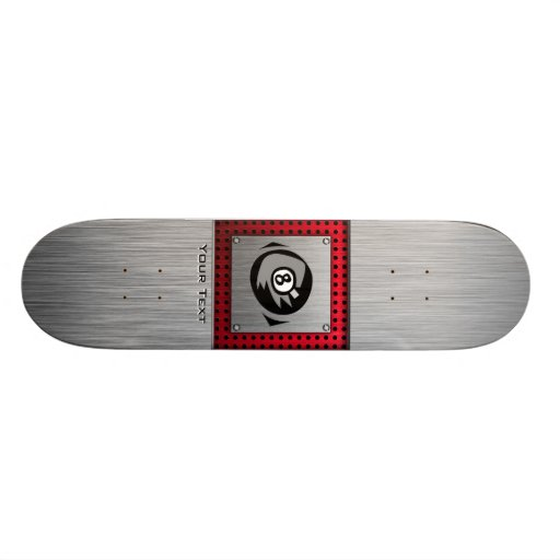 bola 8; Falso aluminio cepillado; Rojo Tabla De Patinar