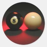 Bola 8 y bola de señal pegatinas redondas