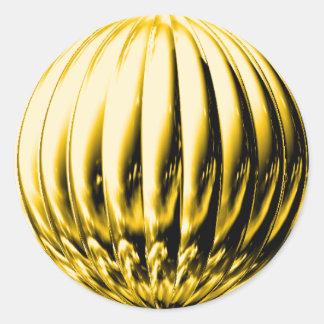 Bola acanalada oro pegatina redonda