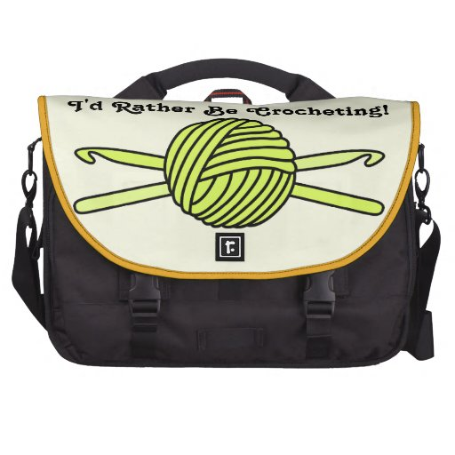Bola amarilla de los ganchos del hilado y de ganch bolsa de ordenador