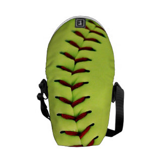 Bola amarilla del softball bolsas messenger