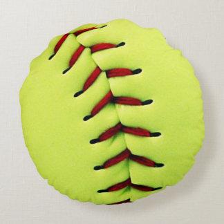 Bola amarilla del softball cojín redondo