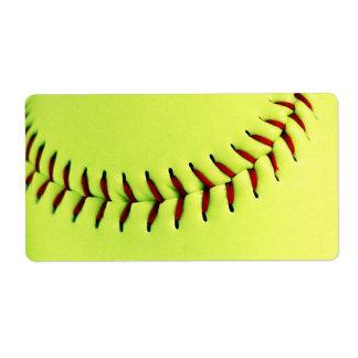 Bola amarilla del softball etiquetas de envío