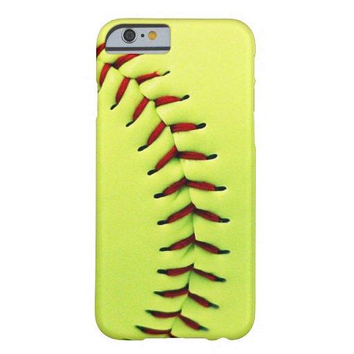 Bola amarilla del softball funda para iPhone 6 barely there