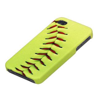 Bola amarilla del softball iPhone 4/4S fundas