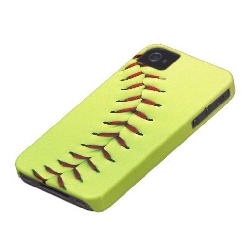 Bola amarilla del softball funda para iPhone 4 de Case-Mate