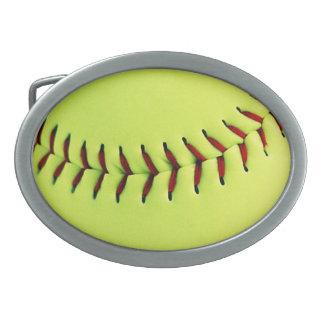 Bola amarilla del softball hebilla cinturón oval