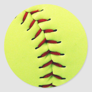 Bola amarilla del softball pegatina redonda