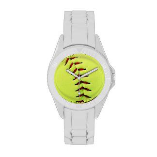 Bola amarilla del softball reloj de mano