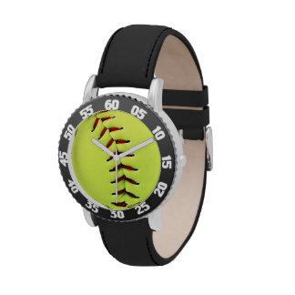 Bola amarilla del softball reloj