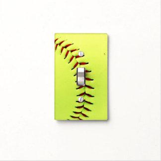 Bola amarilla del softball cubiertas para interruptor