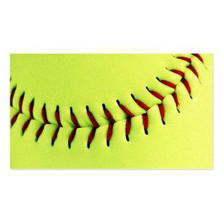 Bola amarilla del softball tarjetas de visita