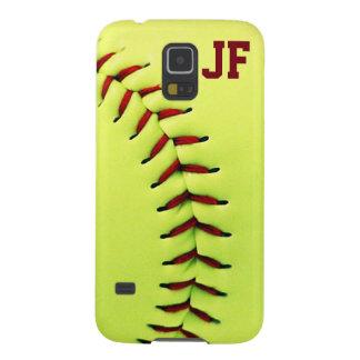 Bola amarilla personalizada del softball funda de galaxy s5