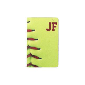 Bola amarilla personalizada del softball funda para libreta y libreta pequeña moleskine