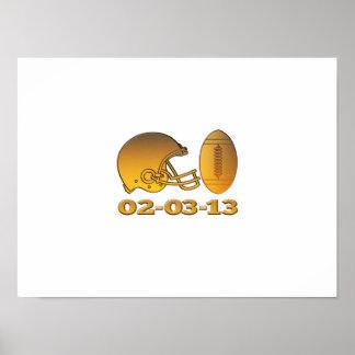 bola americana de oro 2013 del casco de fútbol ame poster