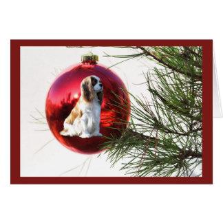 Bola arrogante de la tarjeta de Navidad del perro