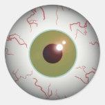 Bola asustadiza Halloween del ojo del globo del Pegatina Redonda