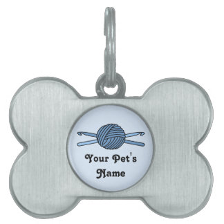 Bola azul de los ganchos del hilado y de ganchillo placas de mascota