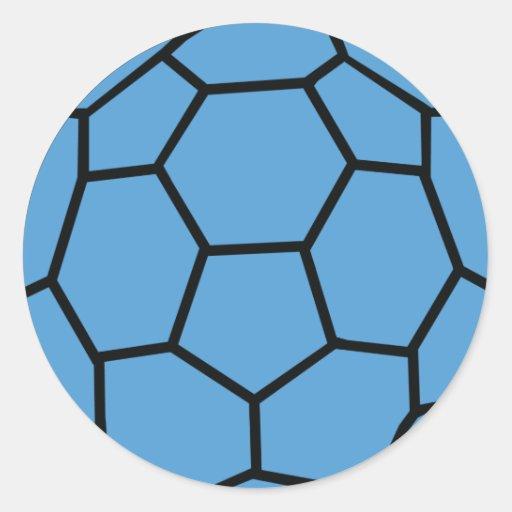 bola azul del balonmano etiqueta redonda