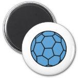 bola azul del balonmano iman de frigorífico
