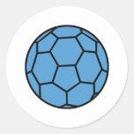 bola azul del balonmano pegatinas redondas