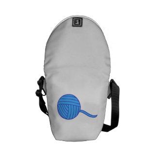 Bola azul del hilado bolsas messenger