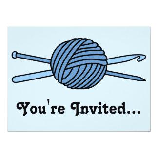 """Bola azul del hilado (punto y ganchillo) invitación 5.5"""" x 7.5"""""""