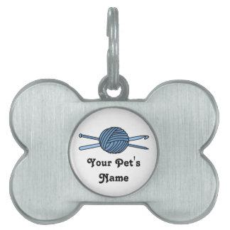 Bola azul del hilado (punto y ganchillo) placas mascota